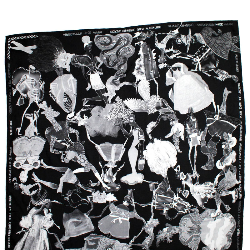 Christian Lacroix Scarf Black Brian Kenny Design - Large Silk Square Foulard
