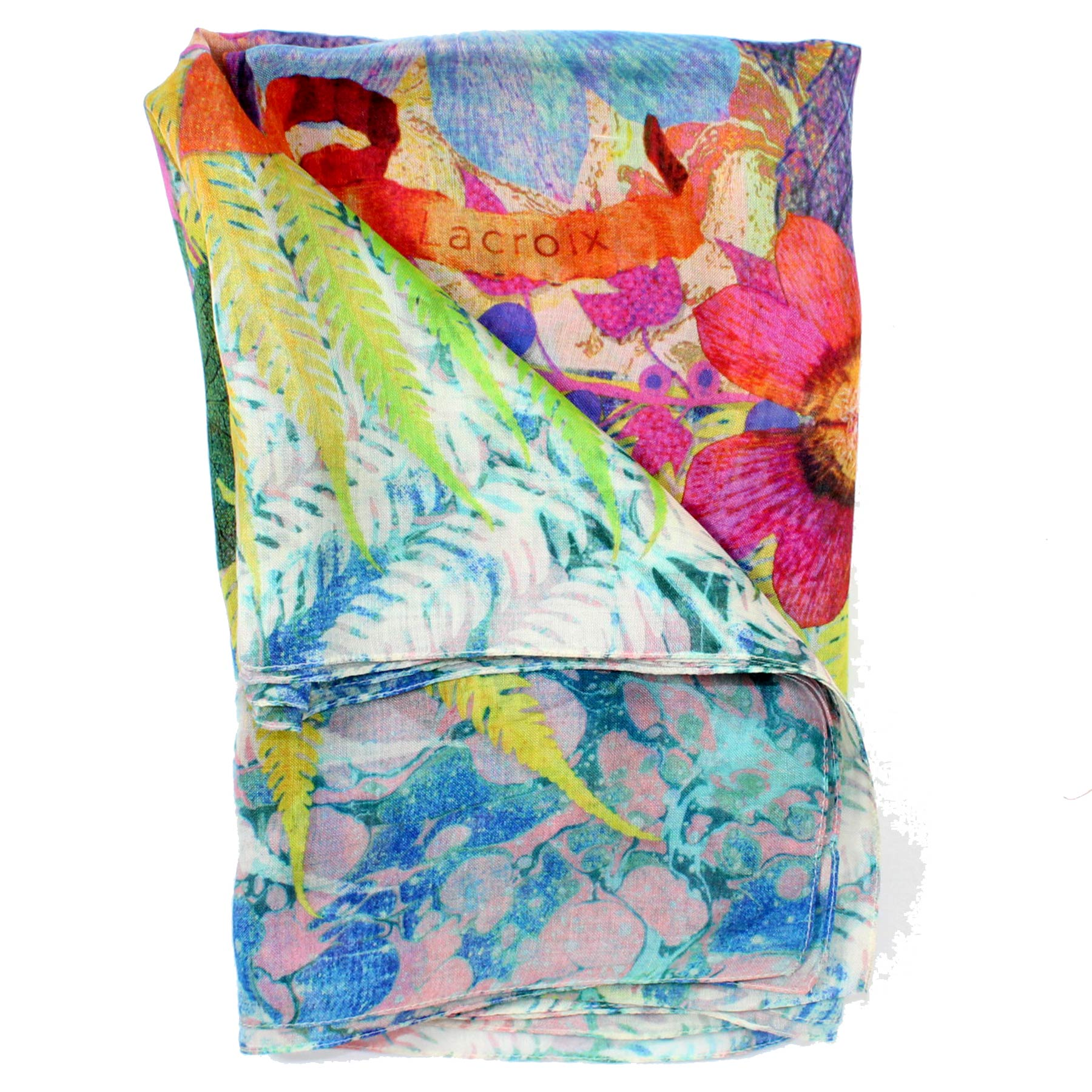 Christian Lacroix Scarf Blue Pink Lime Floral Design - Extra Large Square Silk Scarf
