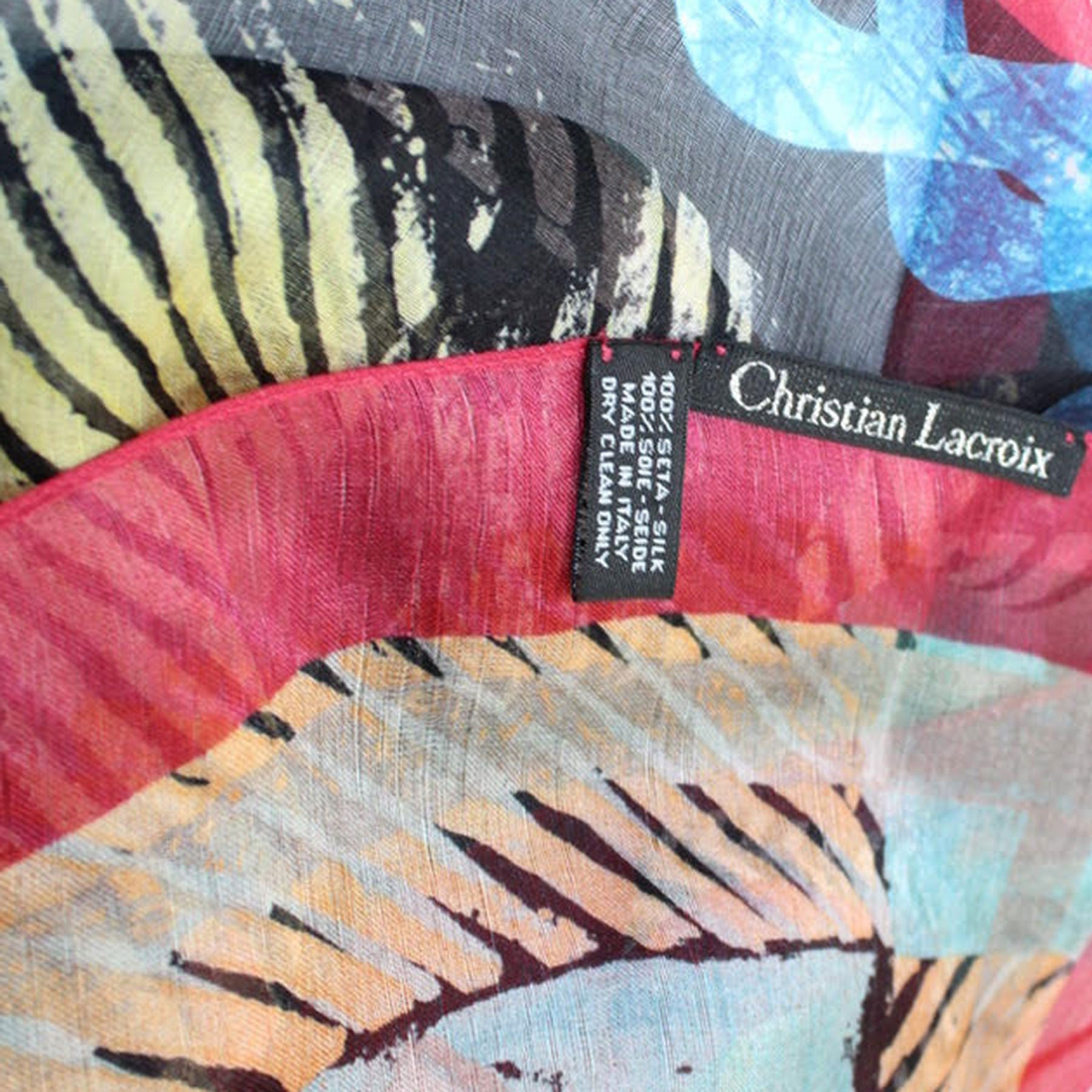 Christian Lacroix Scarf Original Print Royal Black Red Geometric Floral - Extra Large Cashmere Silk Square Wrap