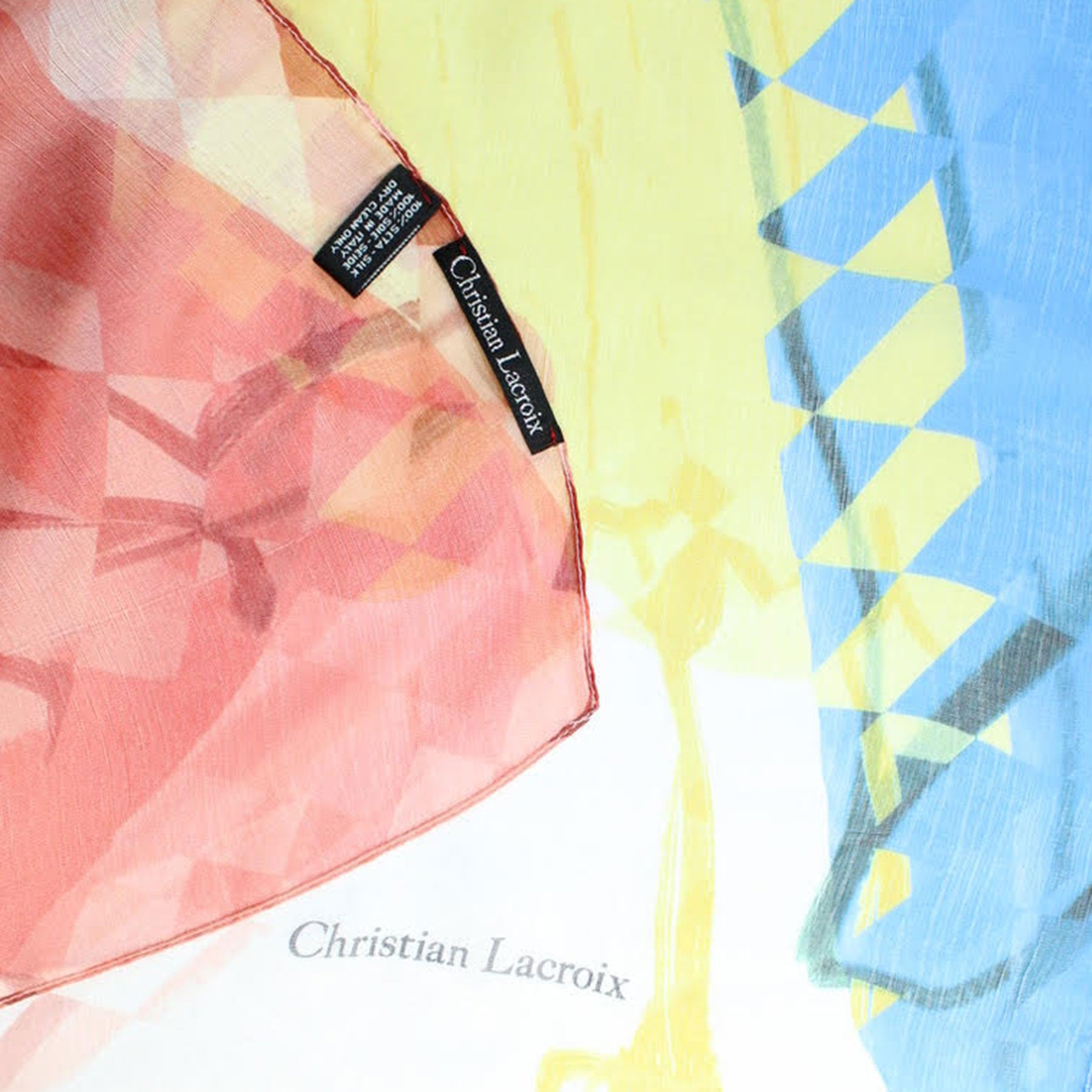 Christian Lacroix Scarf Original Print Red Yellow Blue Geometric - Extra Large Silk Square Wrap