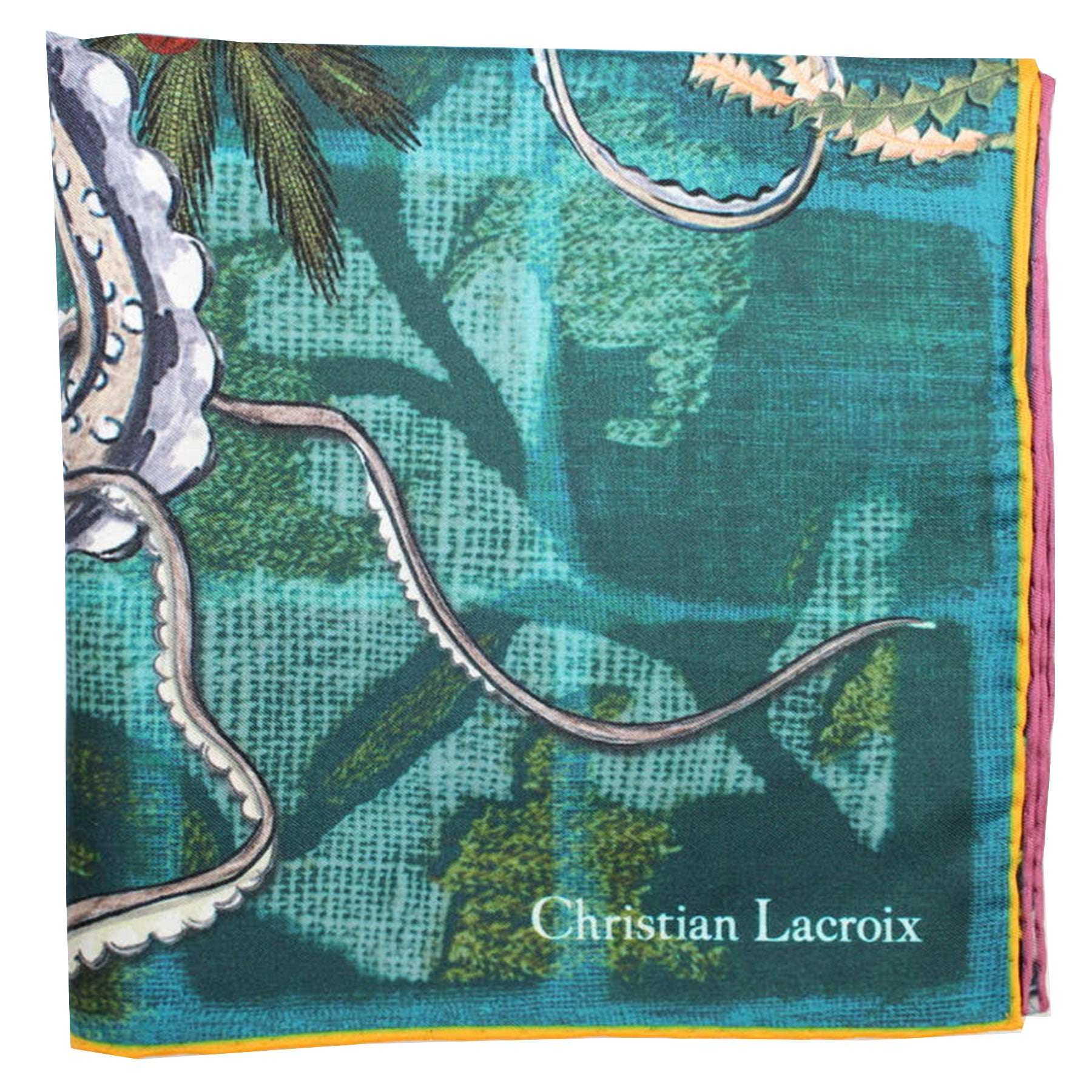 "Christian Lacroix Scarf Emerald Orange Purple Design - Large Twill Silk 36"" Square Scarf"