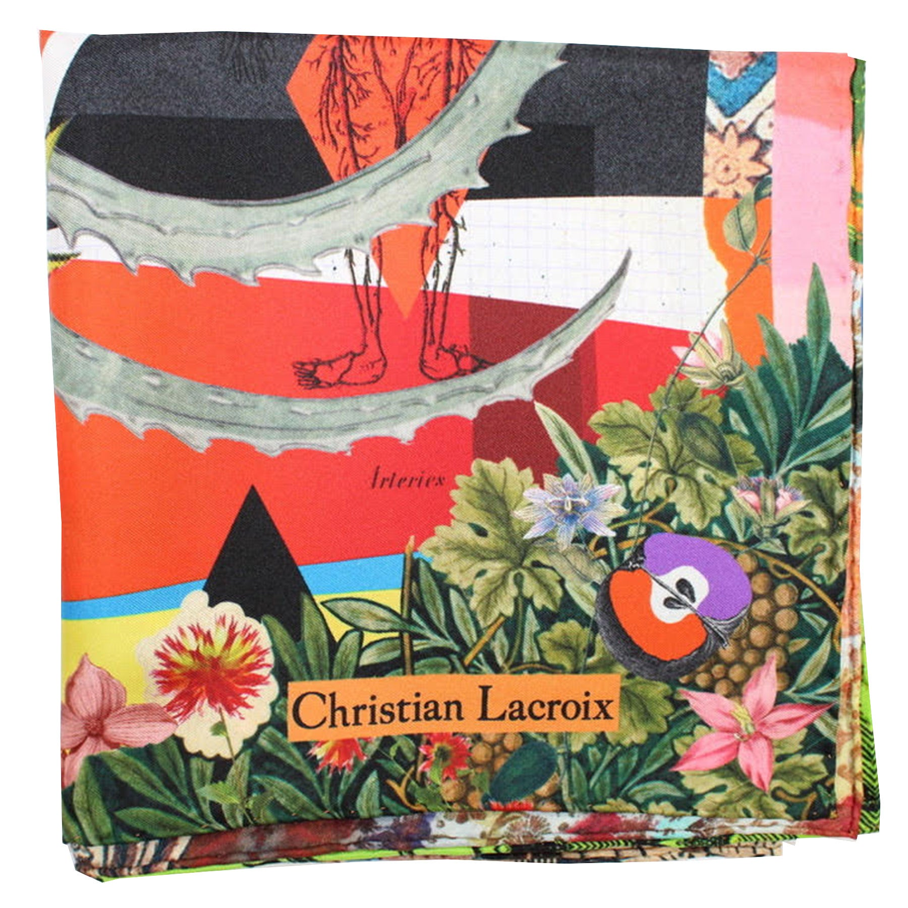 "Christian Lacroix Scarf Red Pink Green Design - Large Twill Silk 36"" Square Scarf"