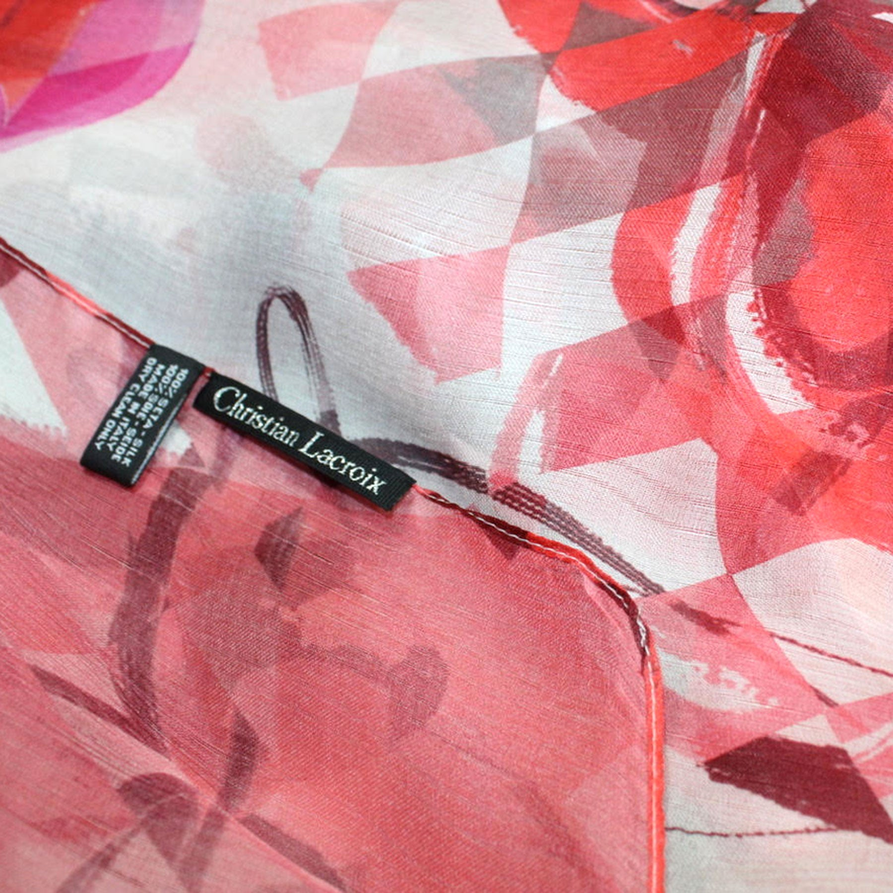 Christian Lacroix Scarf Original Print Rust Fuchsia Black White Geometric - Extra Large Silk Square Wrap SALE