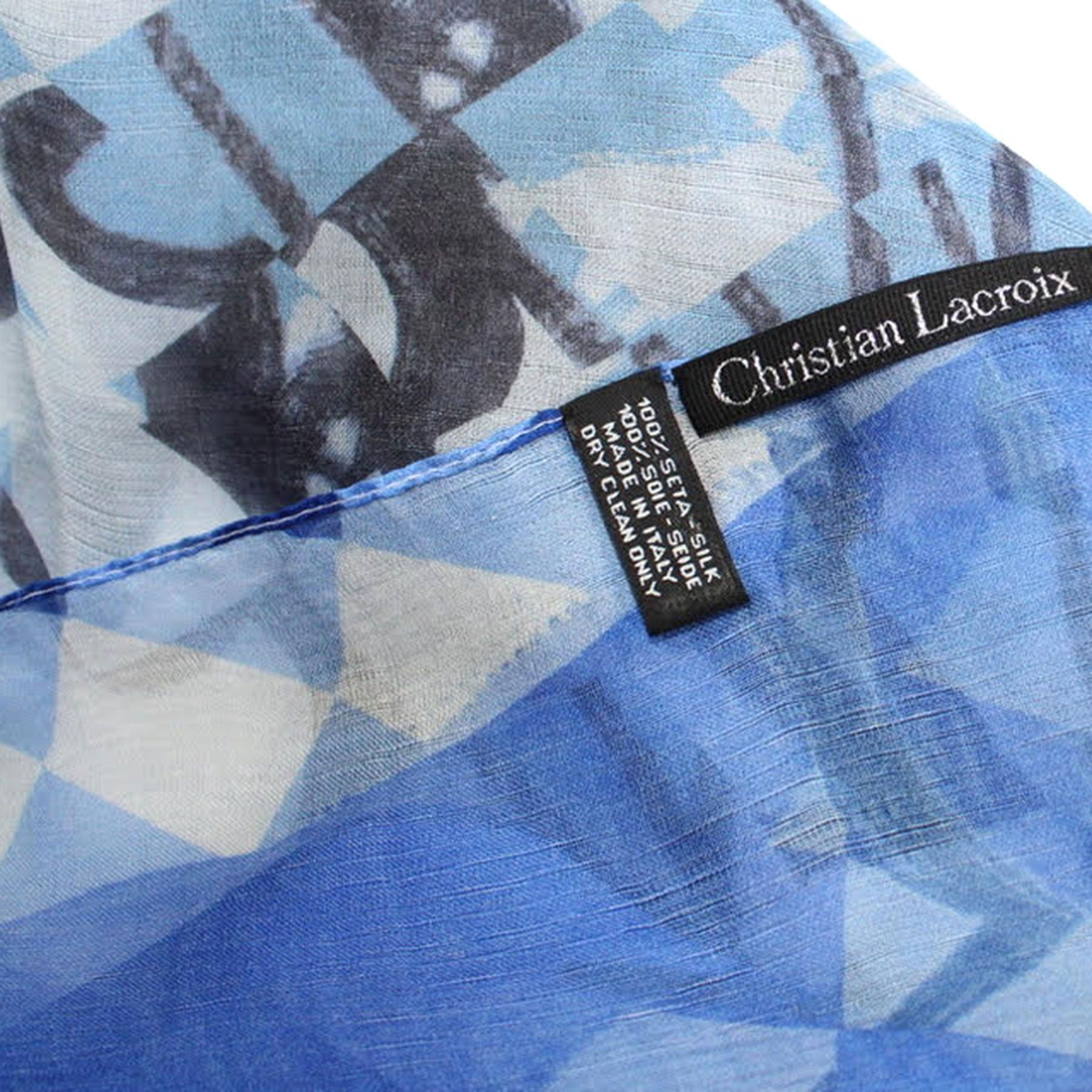 Christian Lacroix Scarf Original Print Royal Blue Dust White Geometric - Extra Large Silk Square Wrap SALE