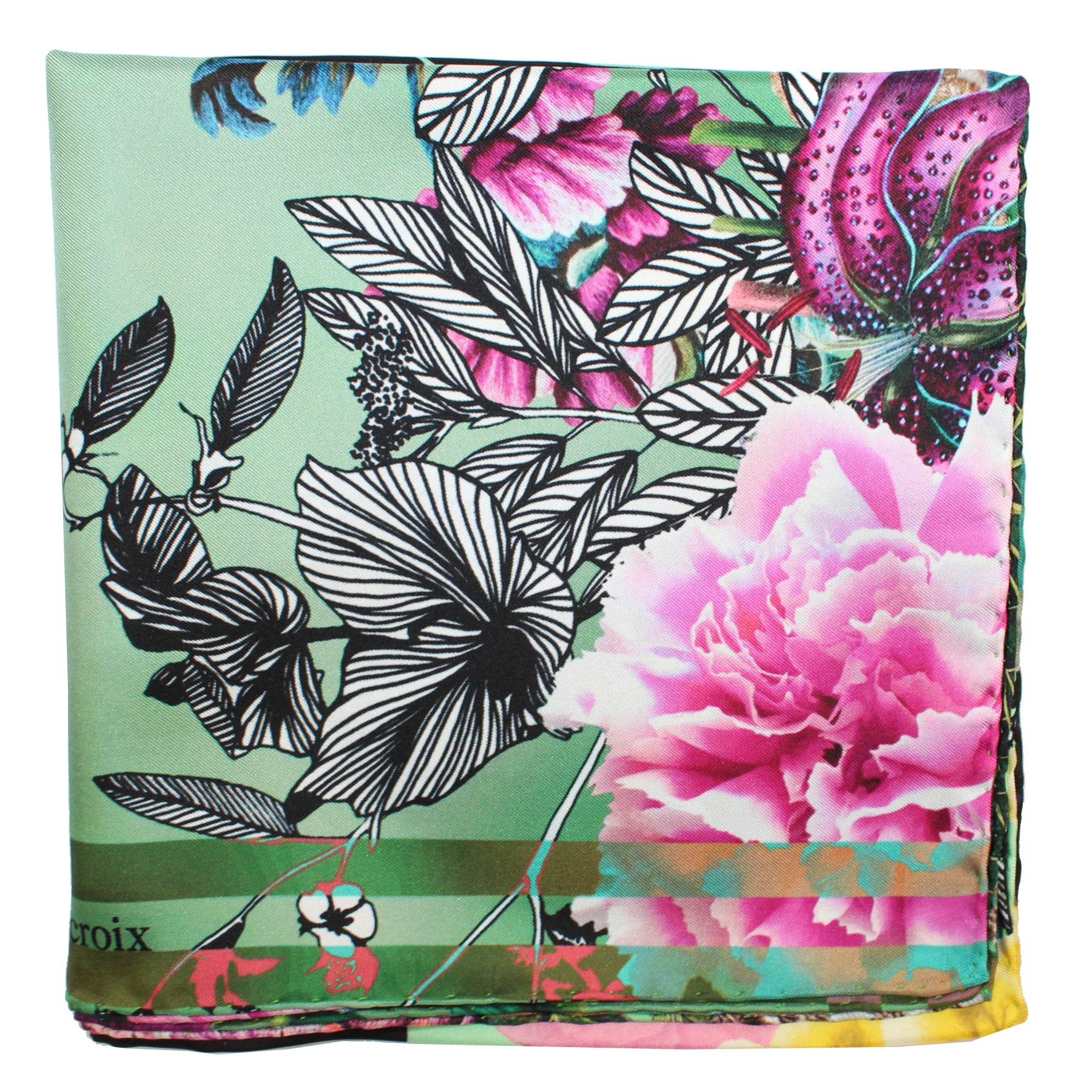 "Christian Lacroix Scarf Green Pink Floral - Twill Silk 36"" Square Foulard"