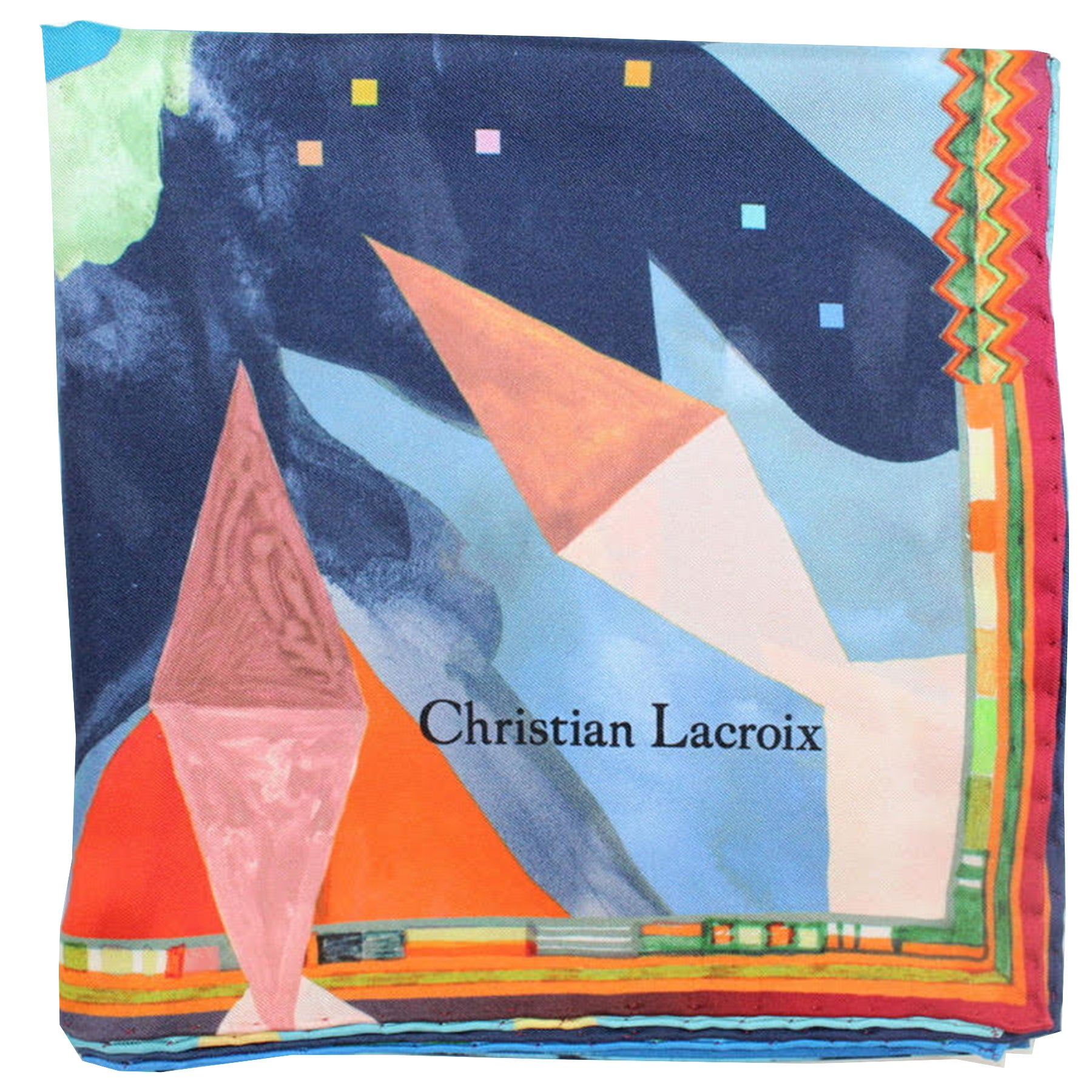 Christian Lacroix Scarf 20 Ans Design Orange Blue Green Novelty - Large Twill Silk Square Scarf
