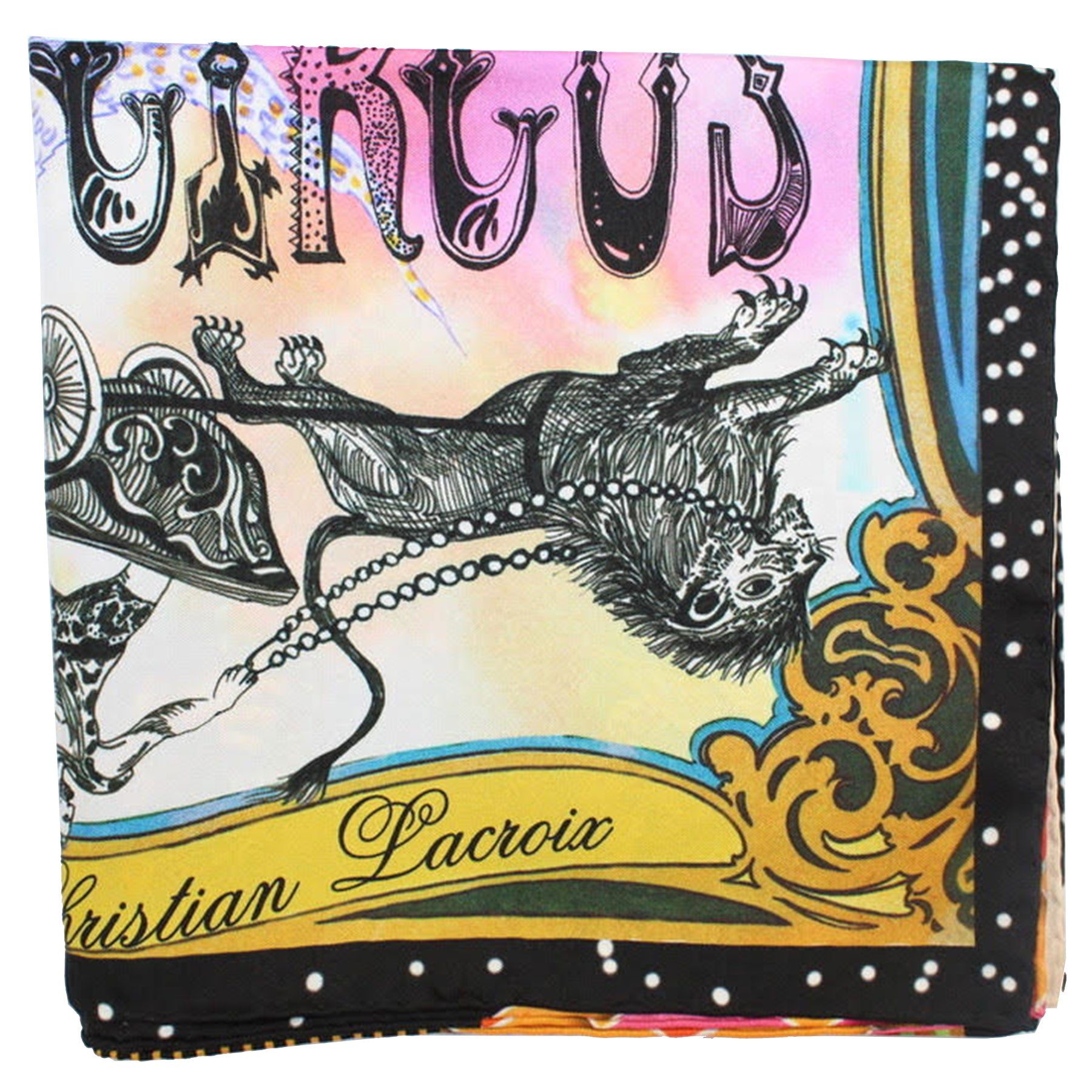 Christian Lacroix Scarf 20 Ans Design Multi color Circus Novelty - Large Twill Silk Square Scarf