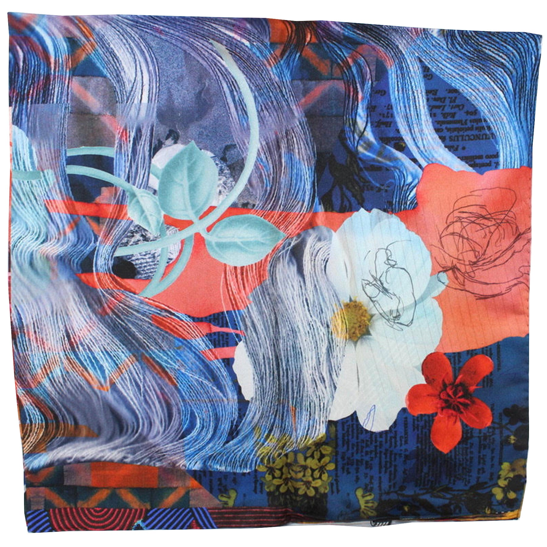 Christian Lacroix Scarf 20 Ans Design Multi Color Floral - Large Twill Silk Square Scarf