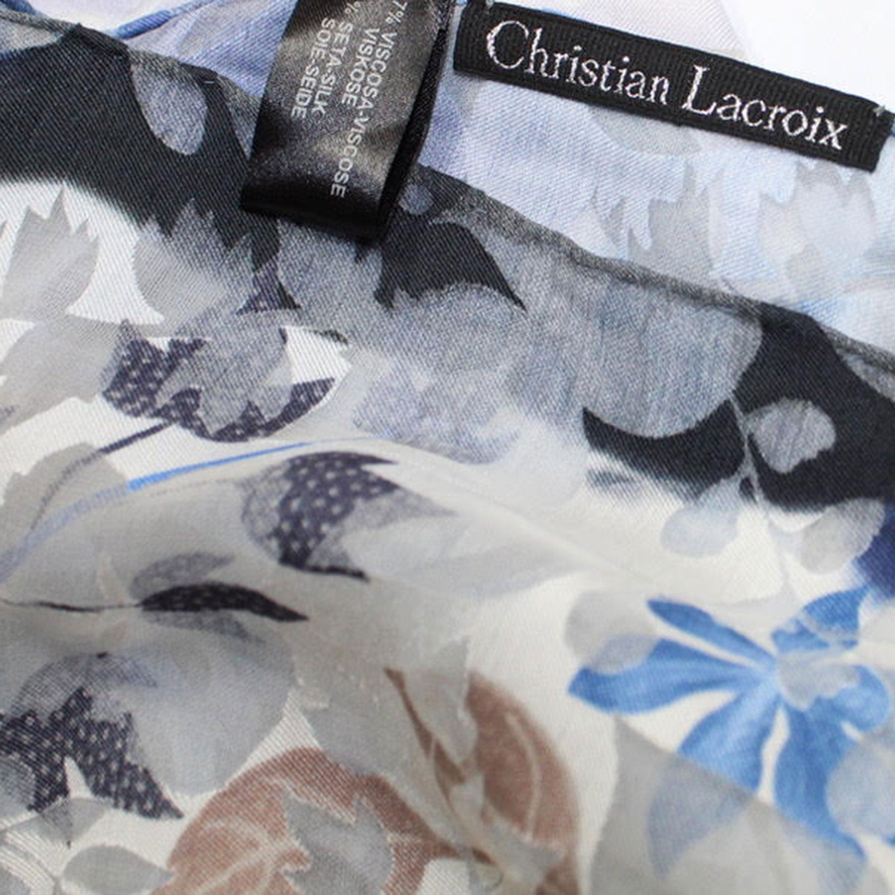 Christian Lacroix Scarf 20 Ans Design Navy Blue Gray Floral - Large Twill Silk Square Scarf