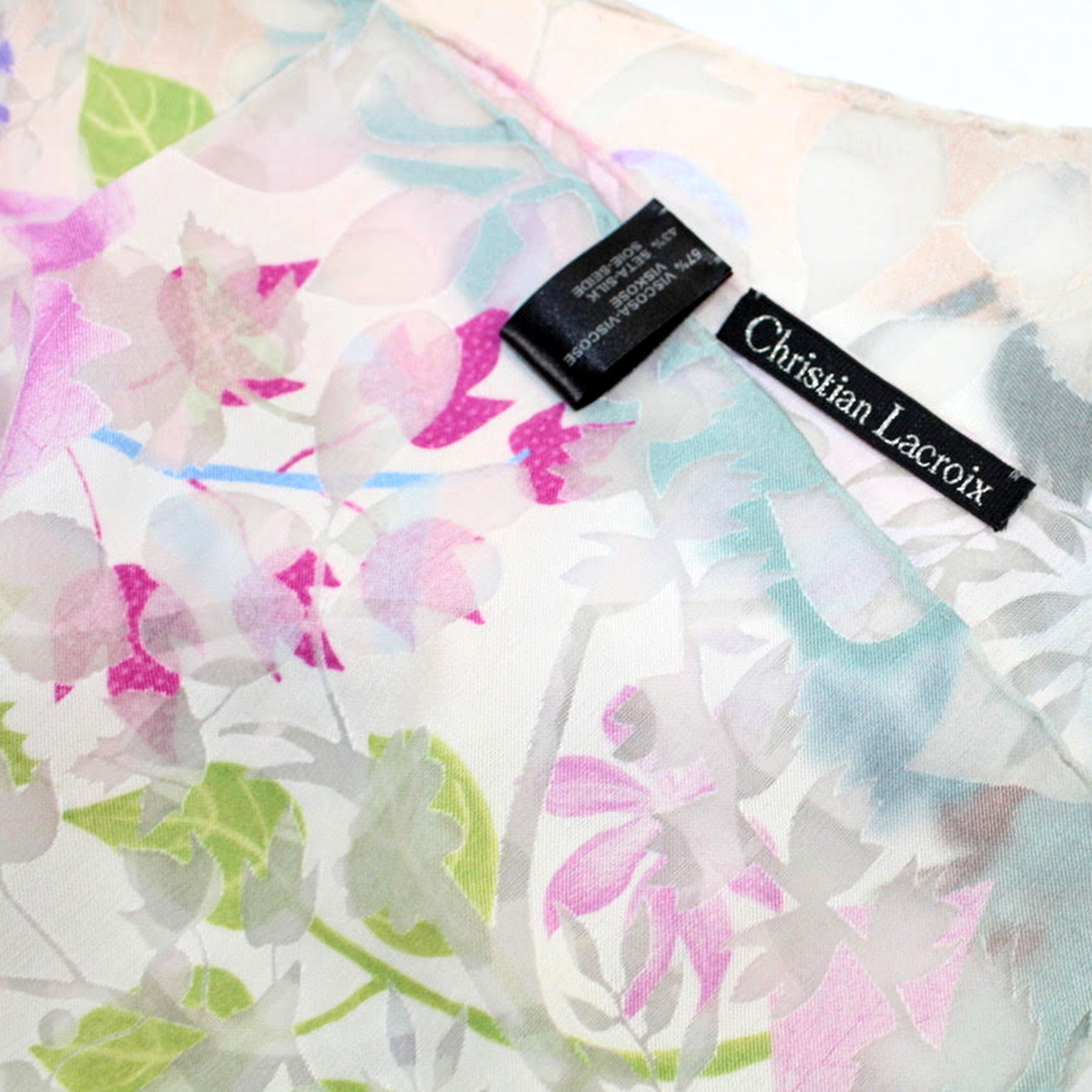 Christian Lacroix Scarf 20 Ans Design Cream Pink Turquoise Floral - Large Twill Silk Square Scarf