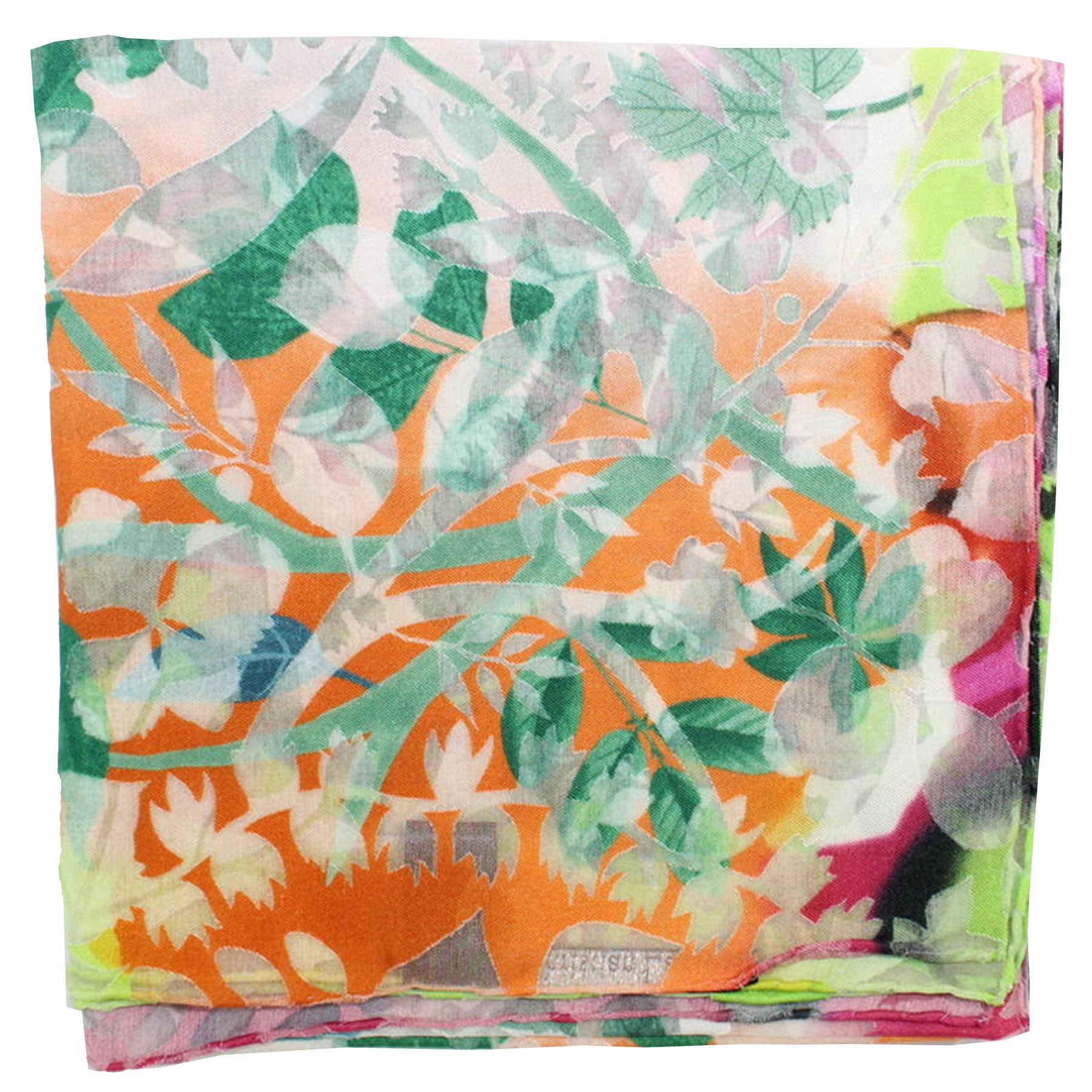 Christian Lacroix Scarf 20 Ans Design Orange Lime Lavender Floral - Large Twill Silk Square Scarf