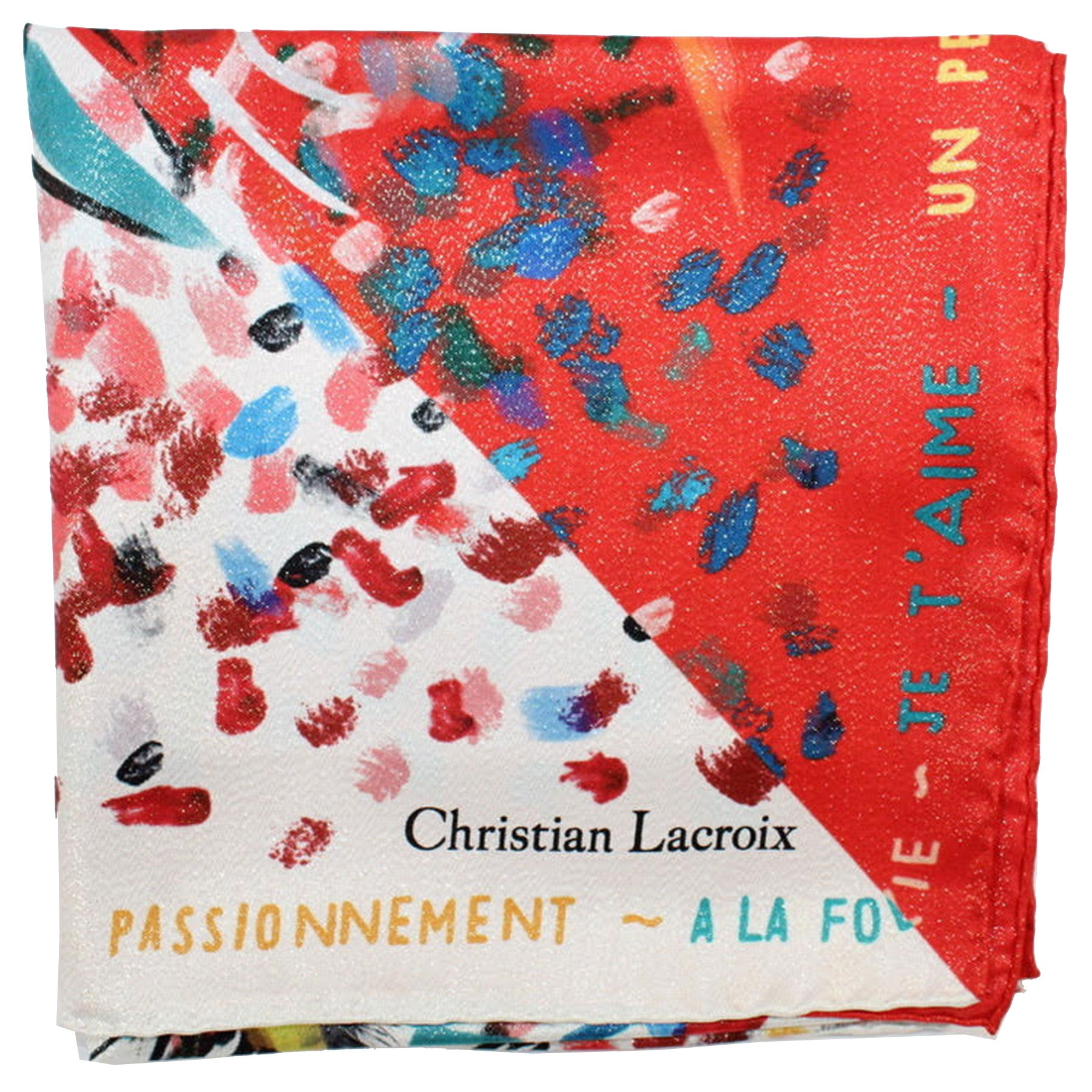 Christian Lacroix Scarf 20 Ans Design Red Turquoise - Large Twill Silk Square Scarf