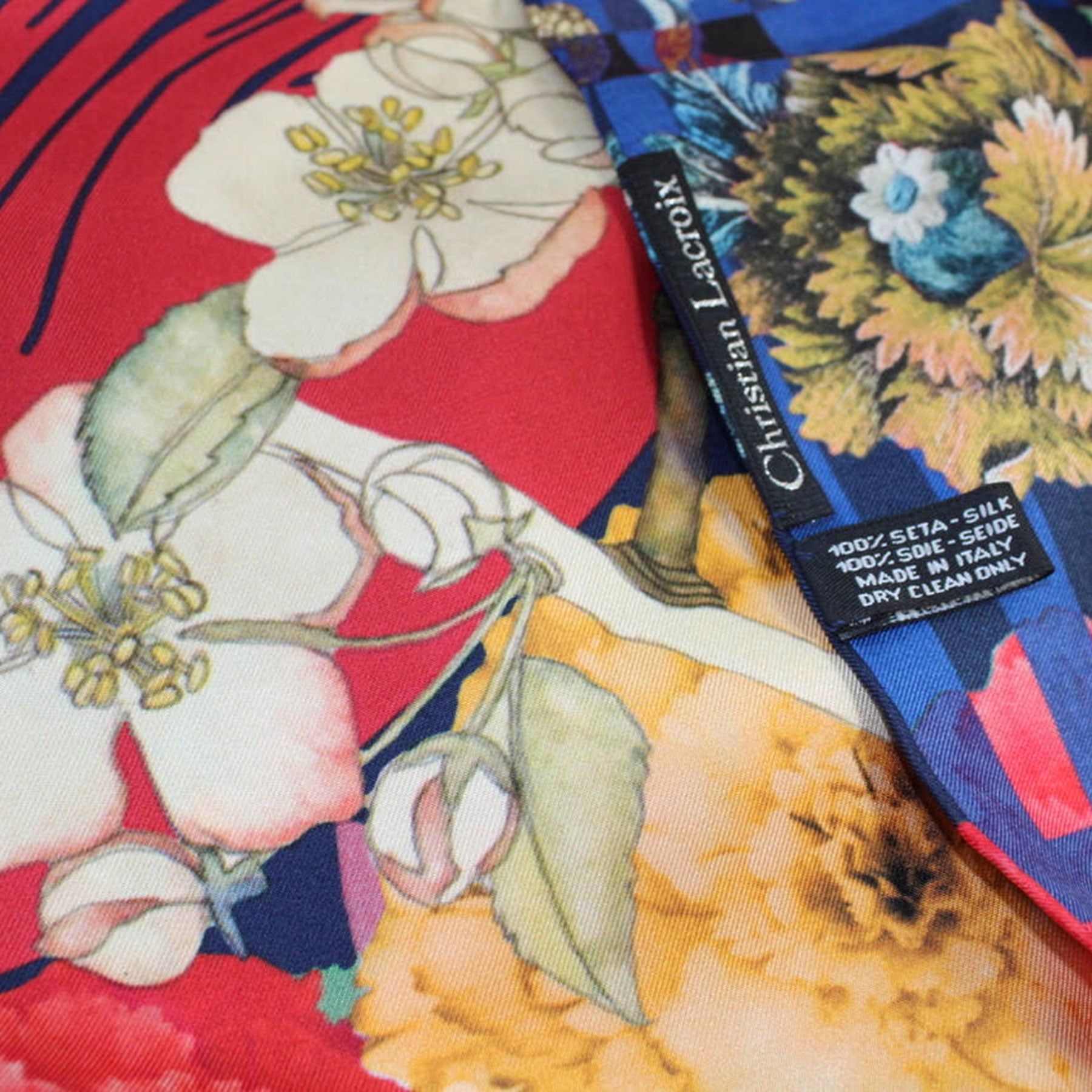 Christian Lacroix Scarf Red Orange Navy Floral - Large Twill Silk Square Scarf
