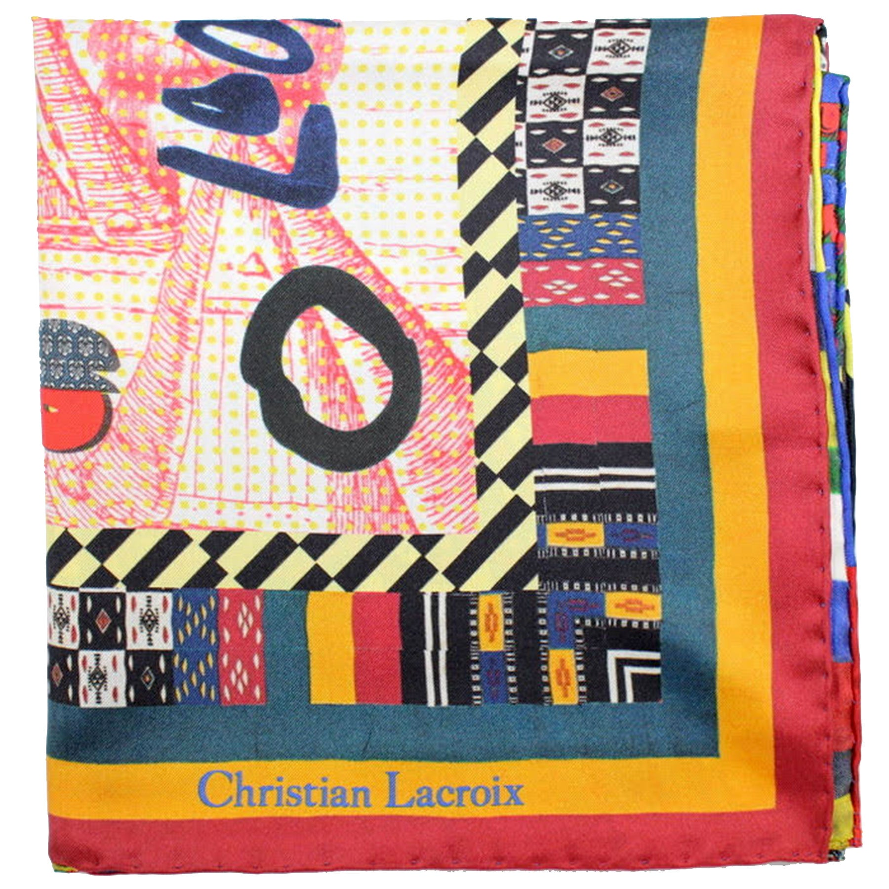 Christian Lacroix Scarf Multi Color Novelty Design - Large Twill Silk Square Scarf