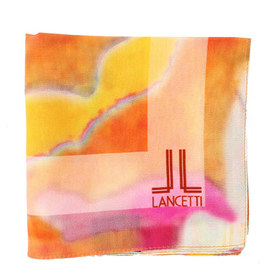 Lancetti Small Silk Scarf Orange Watercolors Made In Italy SALE