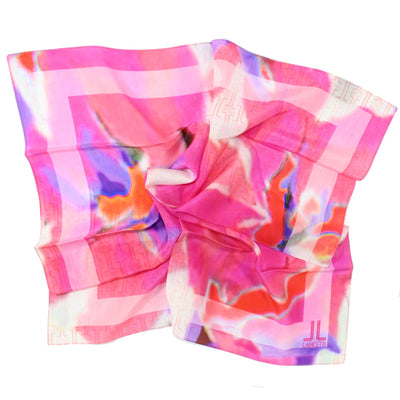 Lancetti Small Silk Scarf Pink Red Watercolors Made In Italy SALE