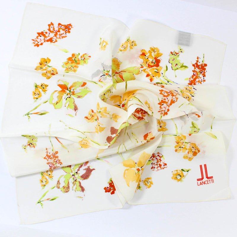 Lancetti Small Silk Scarf White Floral - Made In Italy SALE