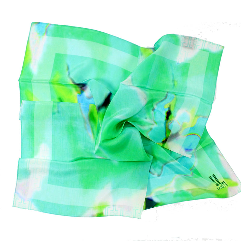 Lancetti Small Silk Scarf Lime Green Watercolors Made In Italy SALE