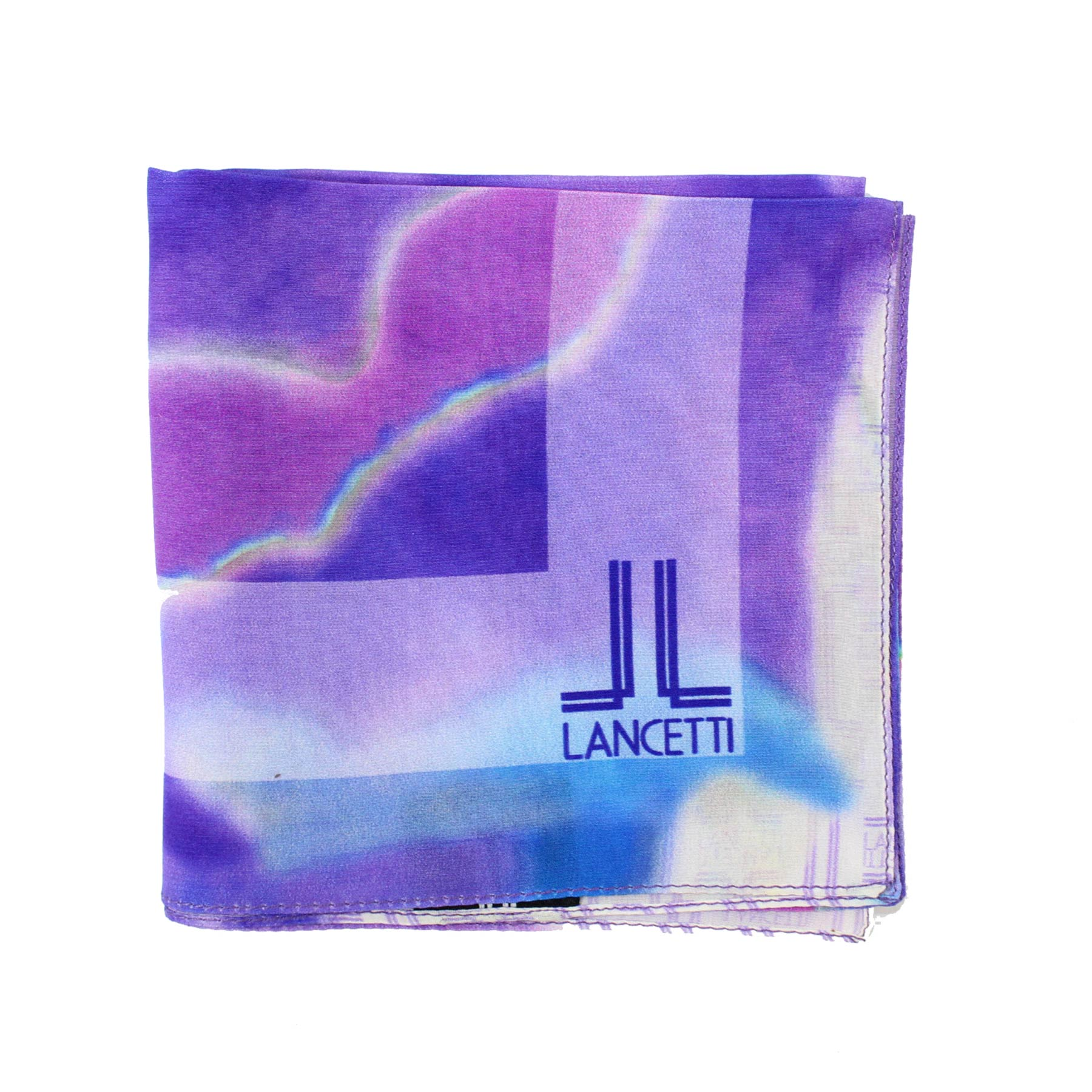 Lancetti Small Silk Scarf Purple Watercolors Made In Italy BLACK FRIDAY SALE