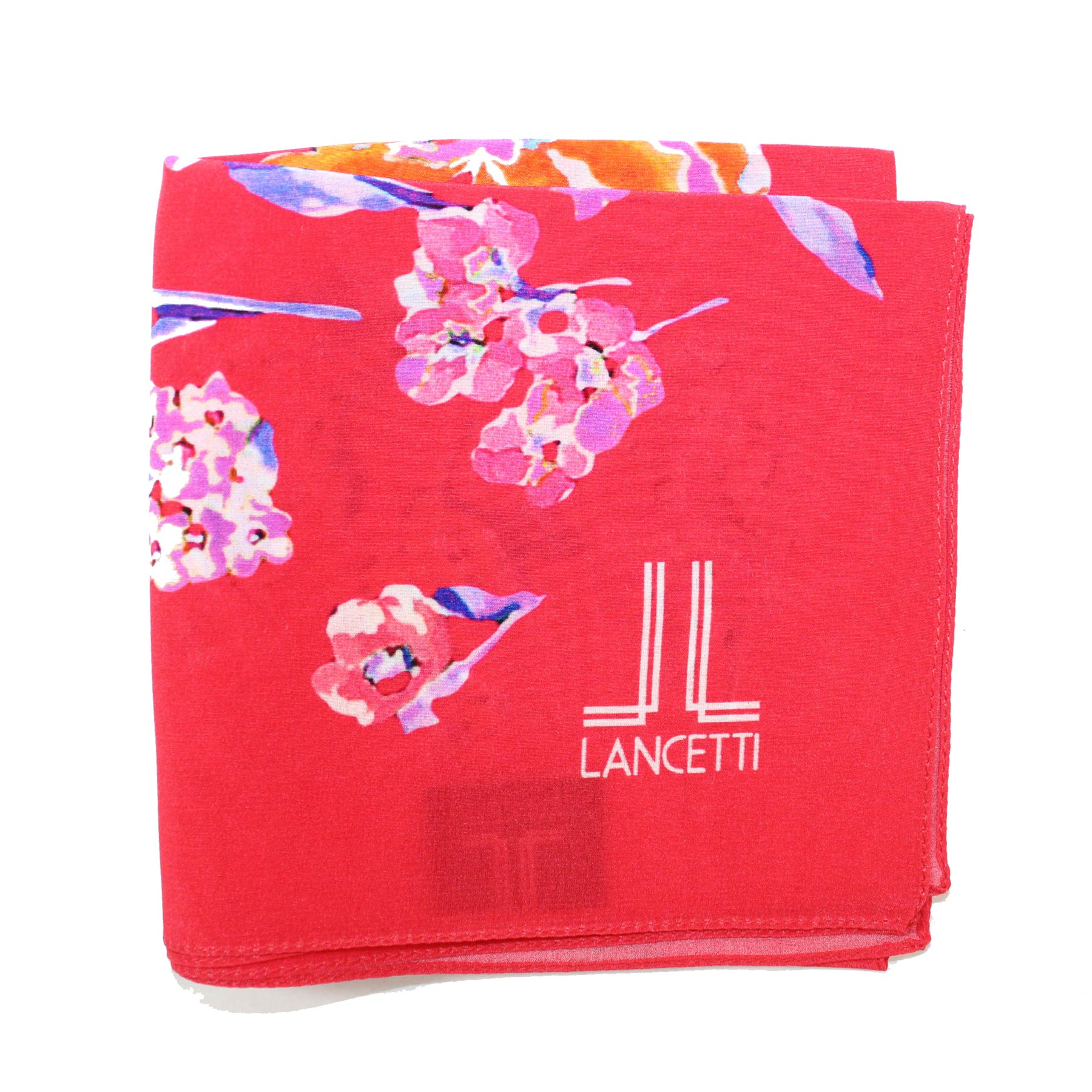 Lancetti Small Silk Scarf Red Floral - Made In Italy SALE