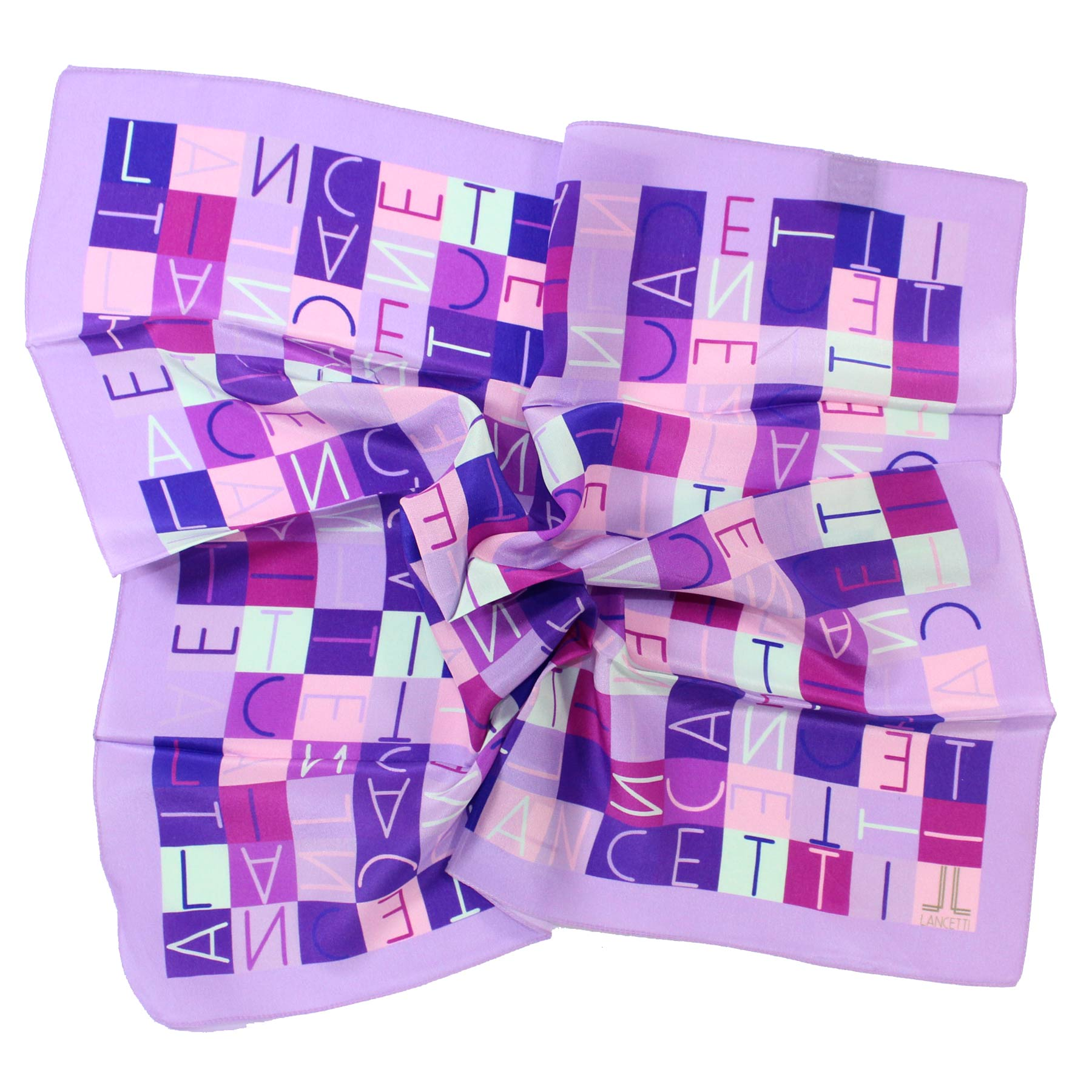 Small Silk Scarf Lilac Squares Logo Made In Italy SALE