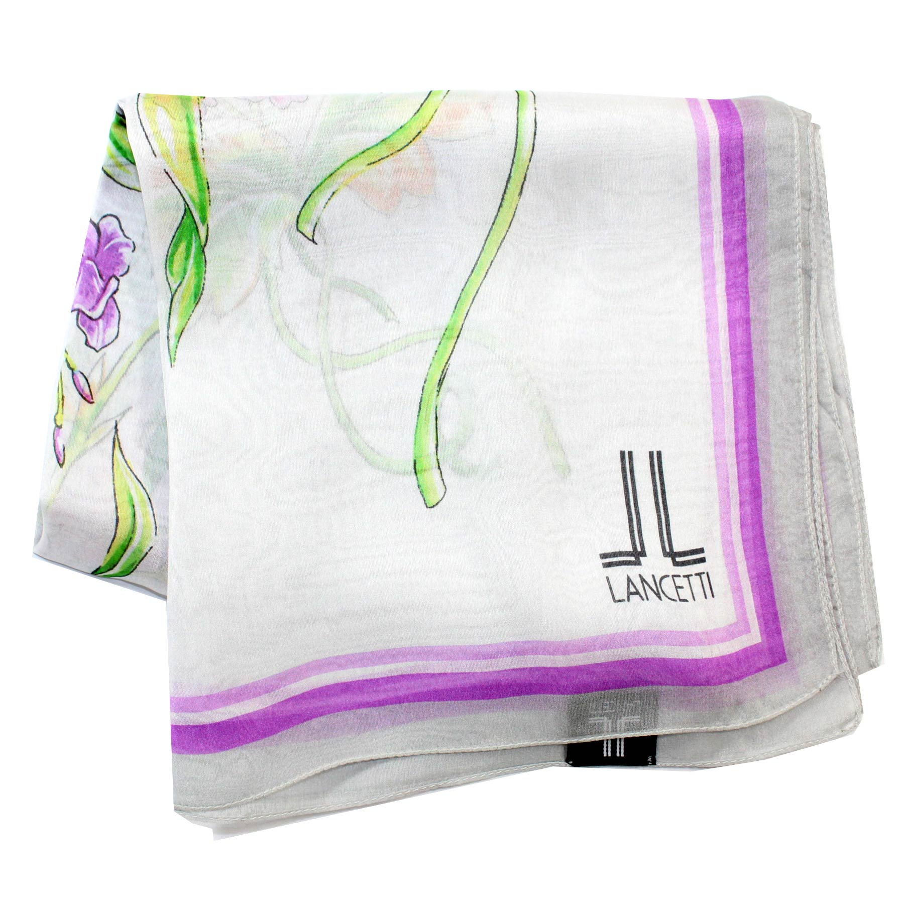 Lancetti Scarf Lilac Green Floral Chiffon Silk Shawl - Made In Ital