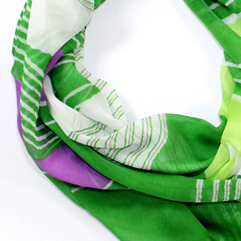 Lancetti Scarf Green Purple Stripes - Chiffon Silk Shawl - Made In Italy
