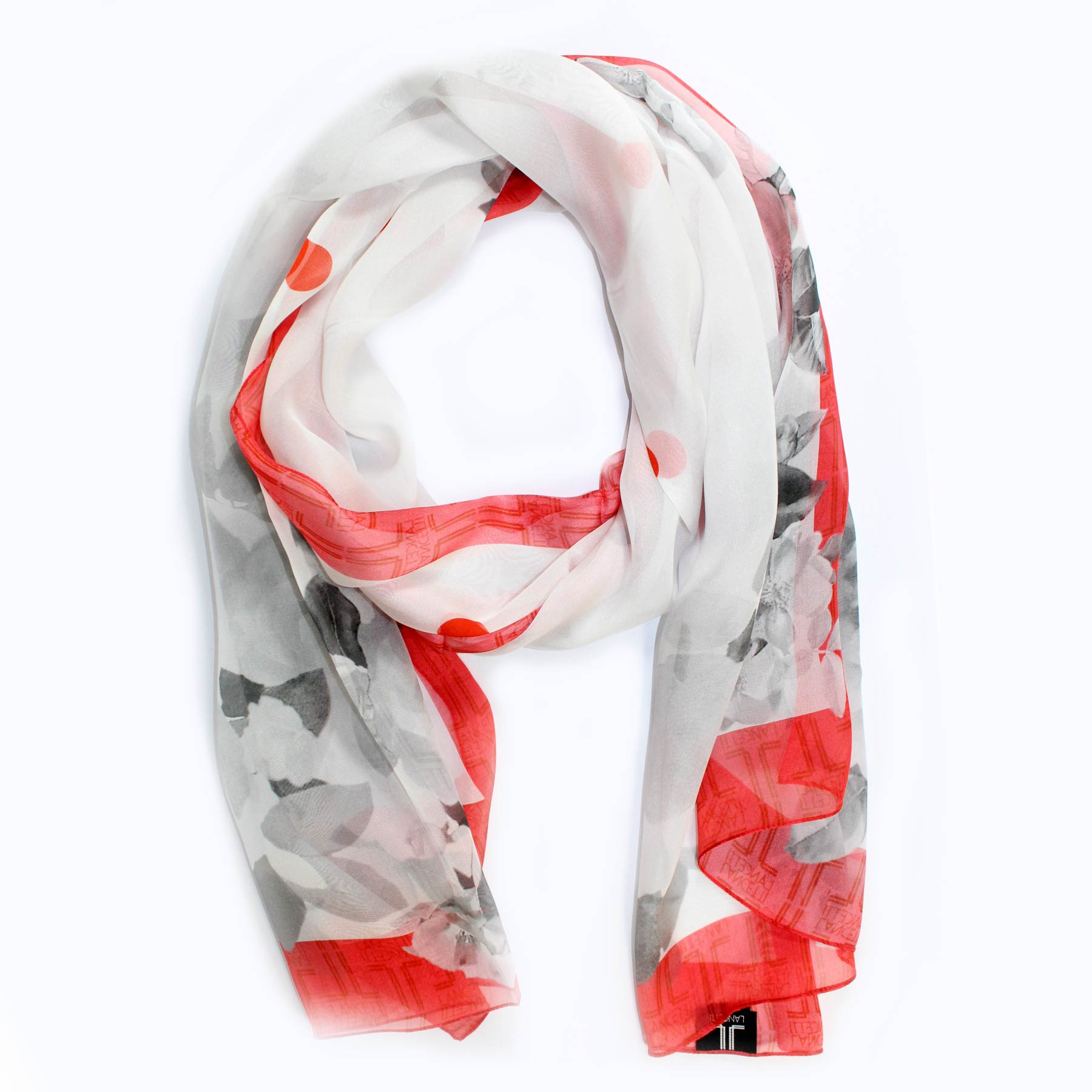 Lancetti Scarf Gray White Floral Red Border - Chiffon Silk Shawl - Made In Italy