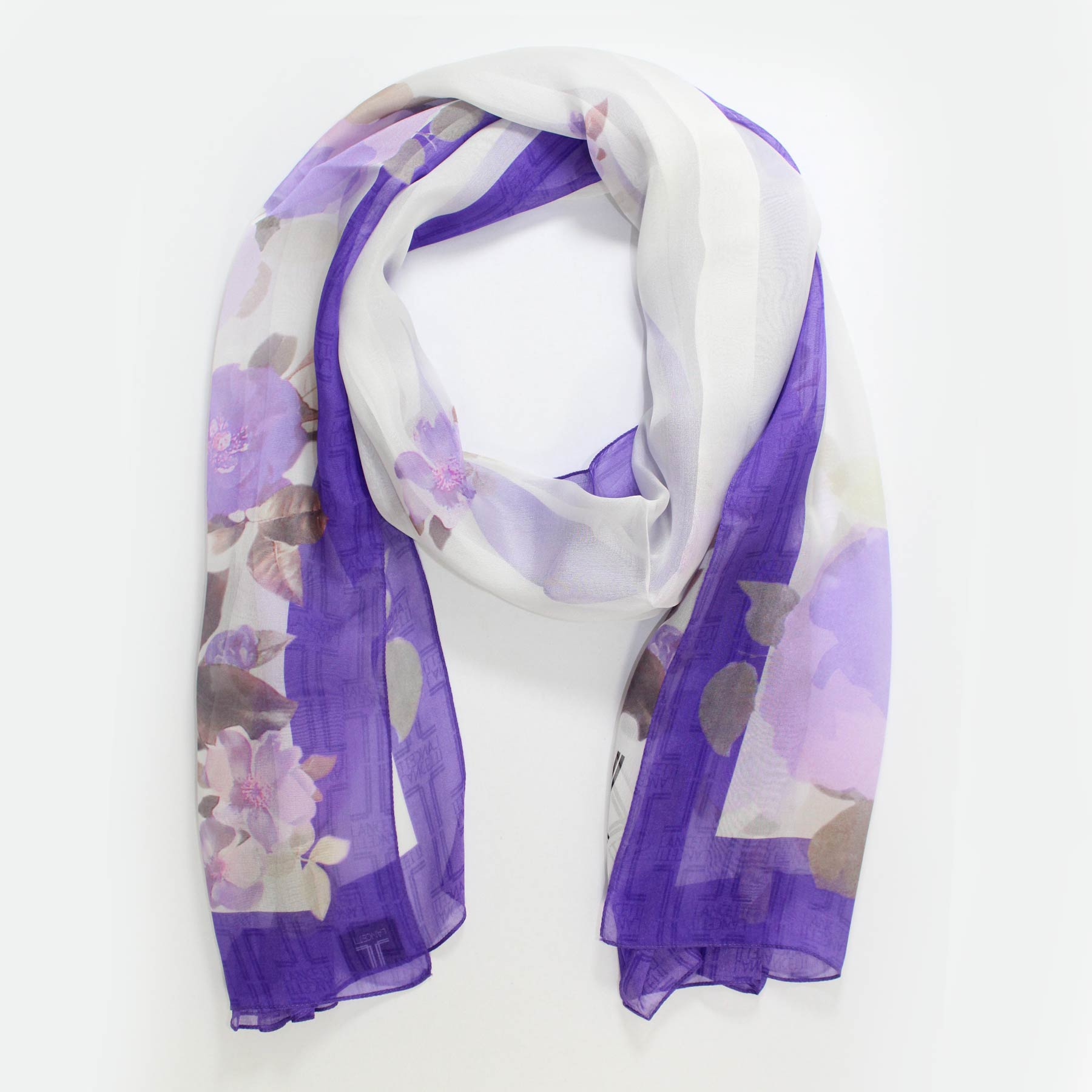 Scarf Purple Floral - Chiffon Silk Shawl - Made In Italy