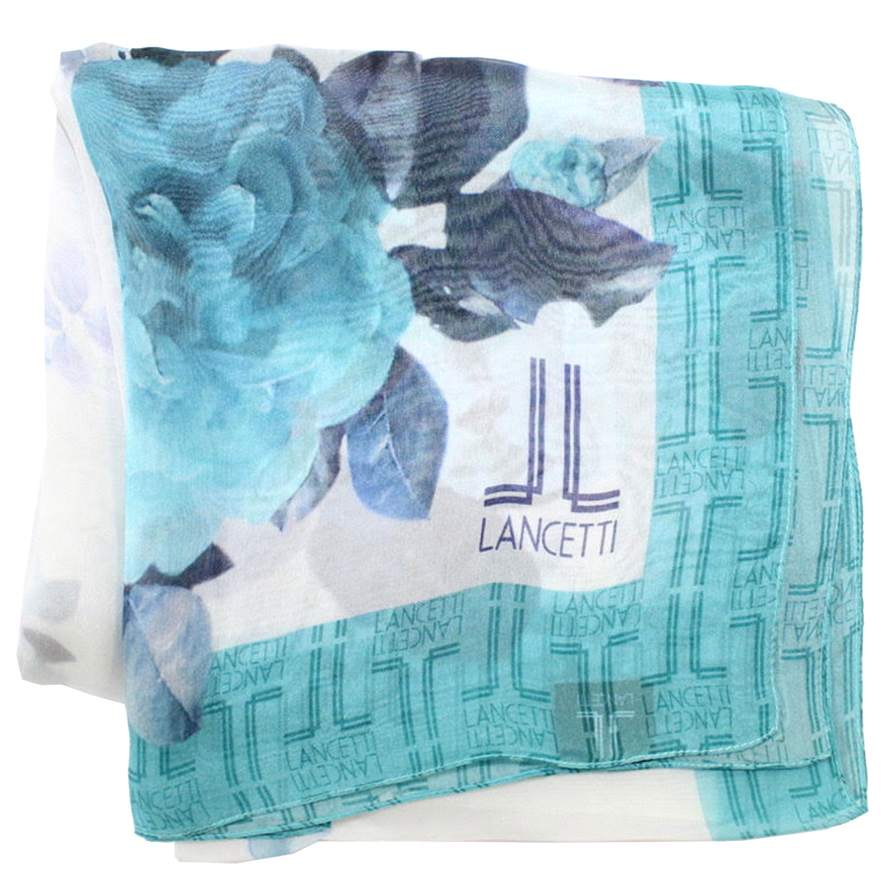 Lancetti Scarf Aqua Blue Floral - Silk Shawl Made In Italy