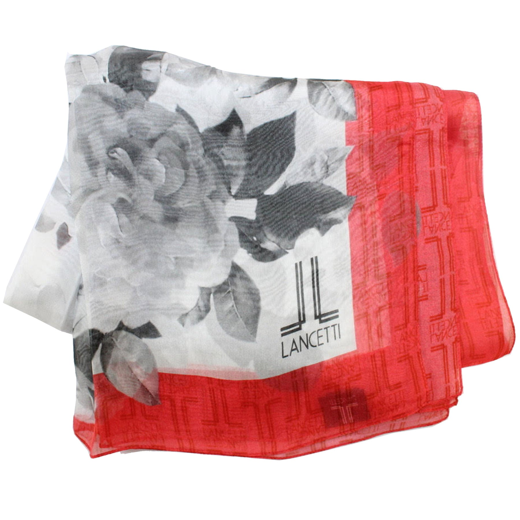 Lancetti Scarf Gray Red Floral - Silk Shawl Made In Italy