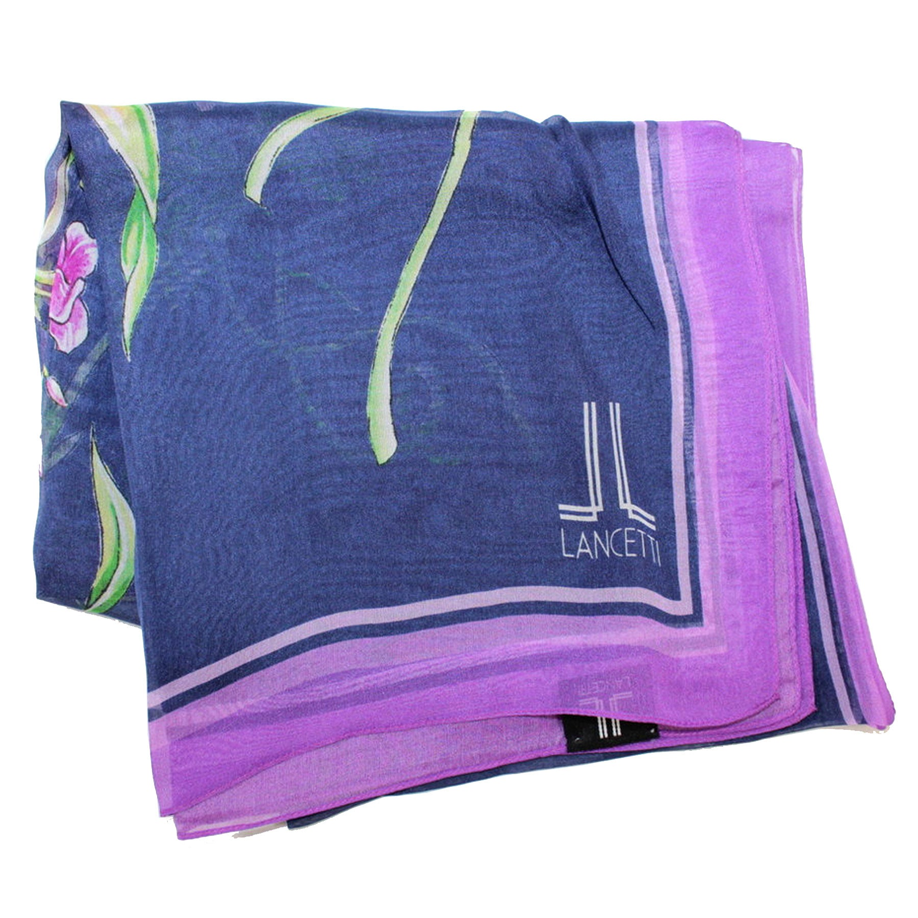 Lancetti Scarf Dark Blue Green Purple Floral - Silk Shawl Made In Italy