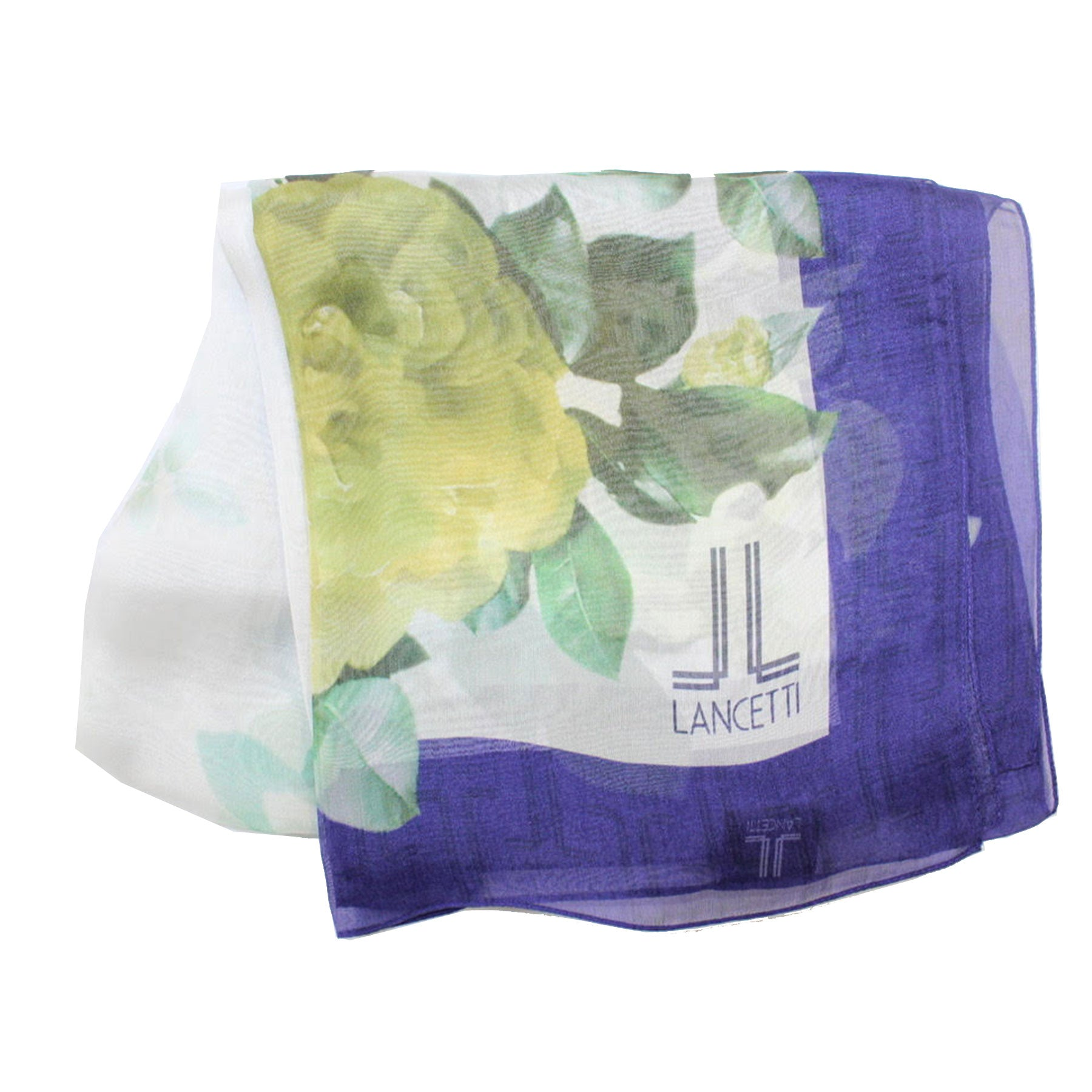 Lancetti Scarf Purple Green Floral - Silk Shawl Made In Italy