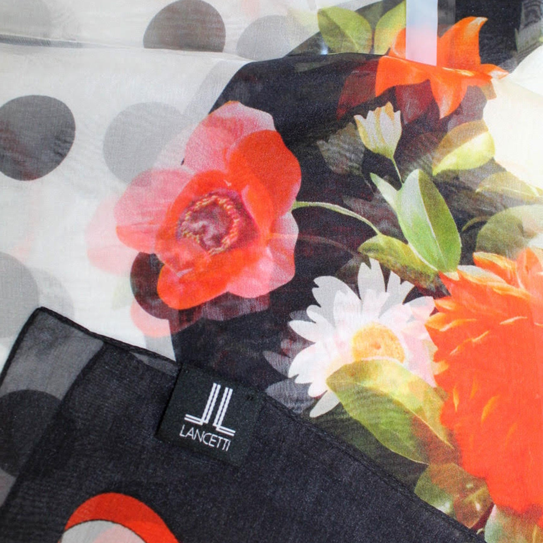 Lancetti Scarf Black Red Floral - Silk Shawl Made In Italy