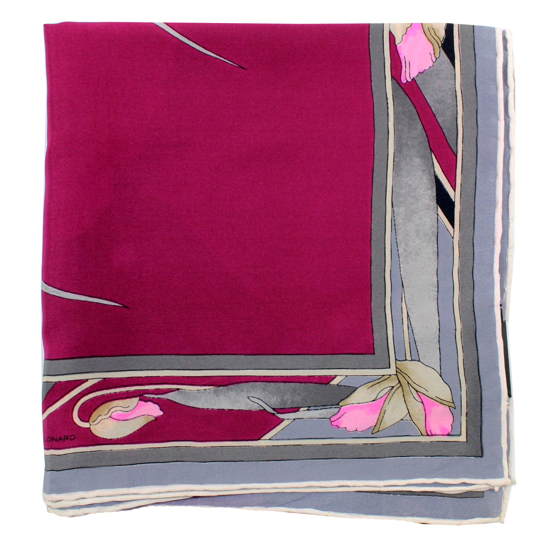 Leonard Paris Scarf Maroon Gray Pink Floral - Large Square Silk Scarf