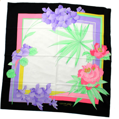 Leonard Paris Scarf Lilac Pink Floral Print - Large Square Silk Scarf