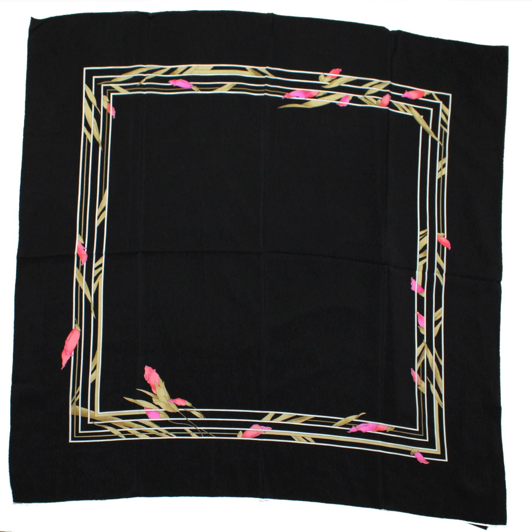 Leonard Paris Scarf Black Pink Cream Floral
