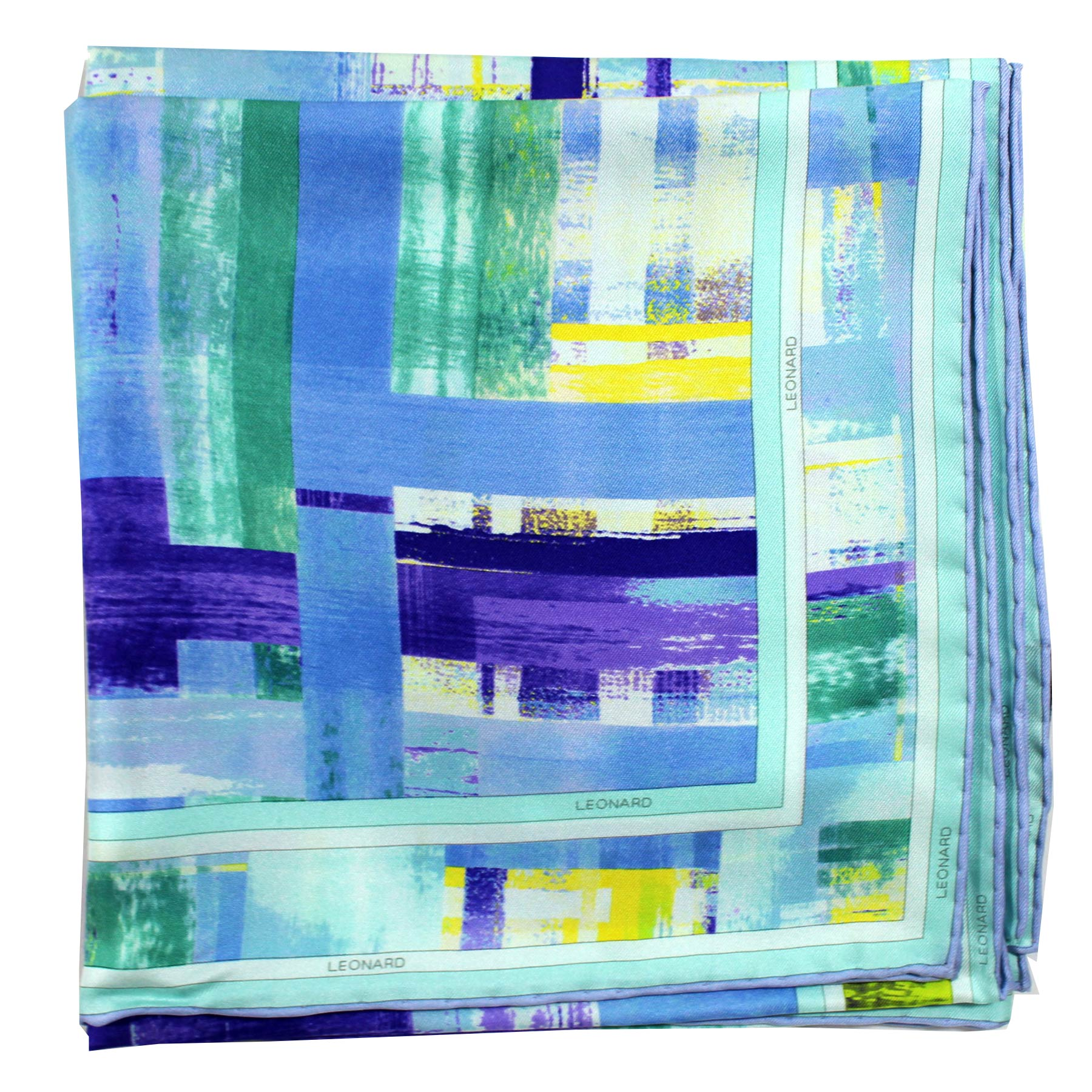 Leonard Paris Scarf Blue Purple Yellow Green Design - Twill Silk Large Square Scarf SALE