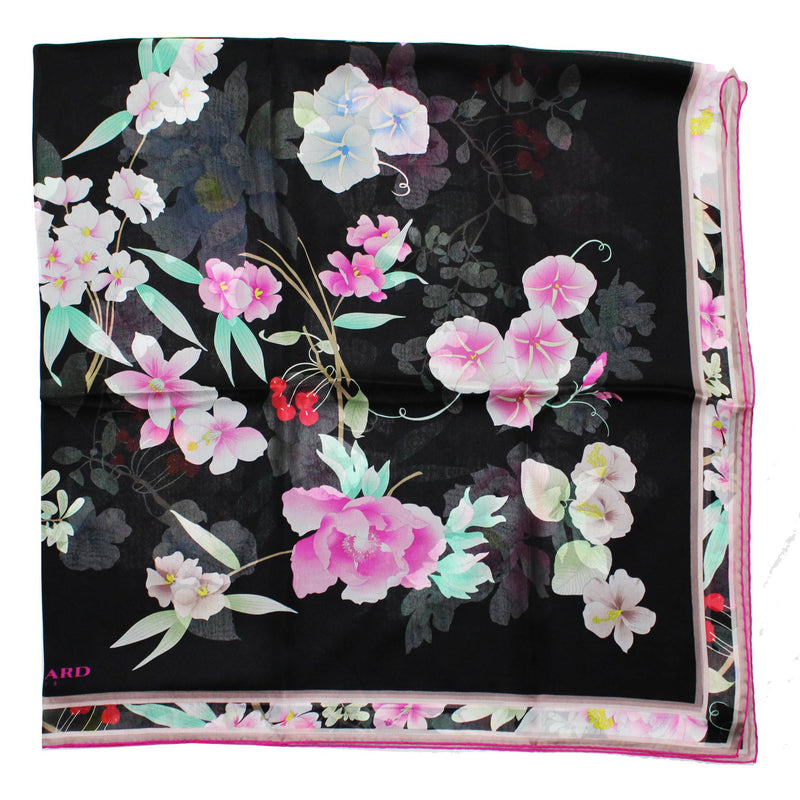 Leonard Paris Scarf Black Pink Design - Chiffon Silk