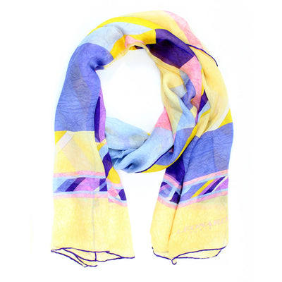 Leonard Paris Scarf Yellow Purple Chiffon Silk Shawl