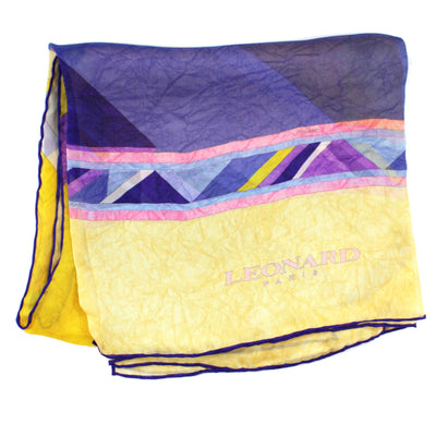 Leonard Scarf Yellow Purple Chiffon Silk Shawl