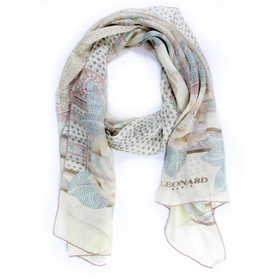 Leonard Paris Scarf Cream Floral Design Chiffon Silk Shawl