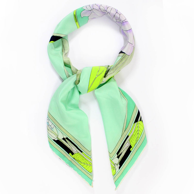 Leonard Paris Scarf Mint Lime Green Floral