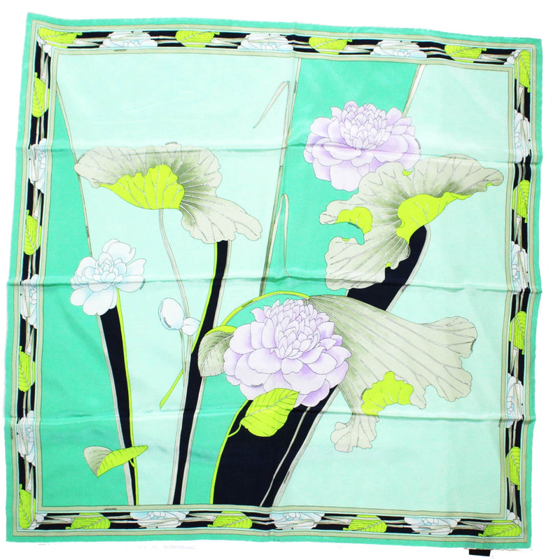 Leonard Paris Scarf Green Floral - Large Square Silk Scarf