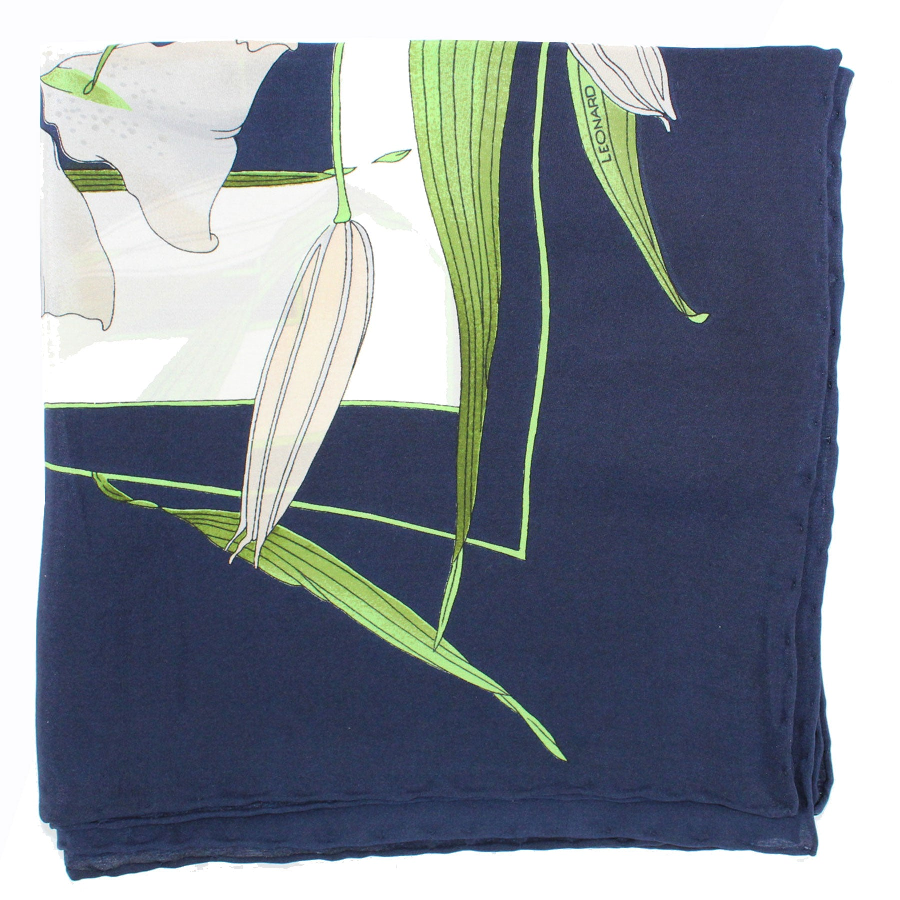 Leonard Scarf Dark Blue Green White Flora