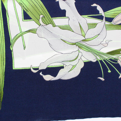 Leonard Scarf Dark Blue Green White Floral - Large Square Silk Scarf
