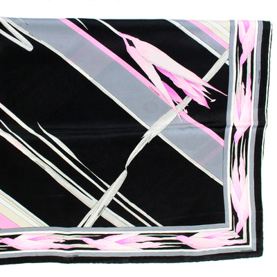Leonard Scarf Black Gray Pink Floral - Large Square Silk Scarf