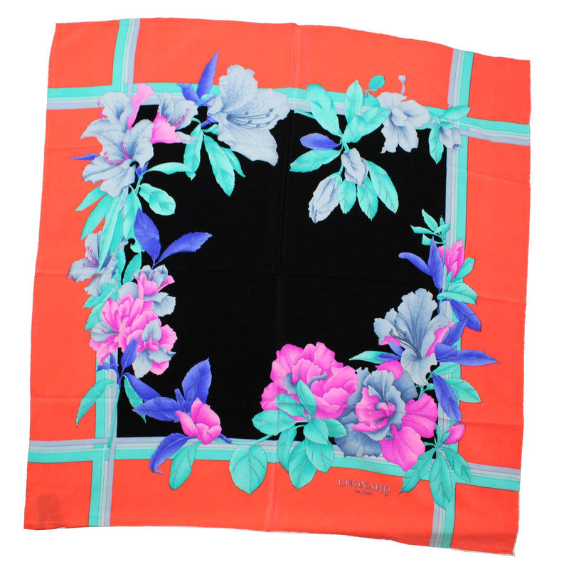 Leonard Scarf Mint Pink Floral - Large Square Silk Scarf