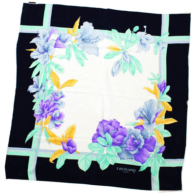Leonard Scarf Lilac Mint Green Floral Black Border