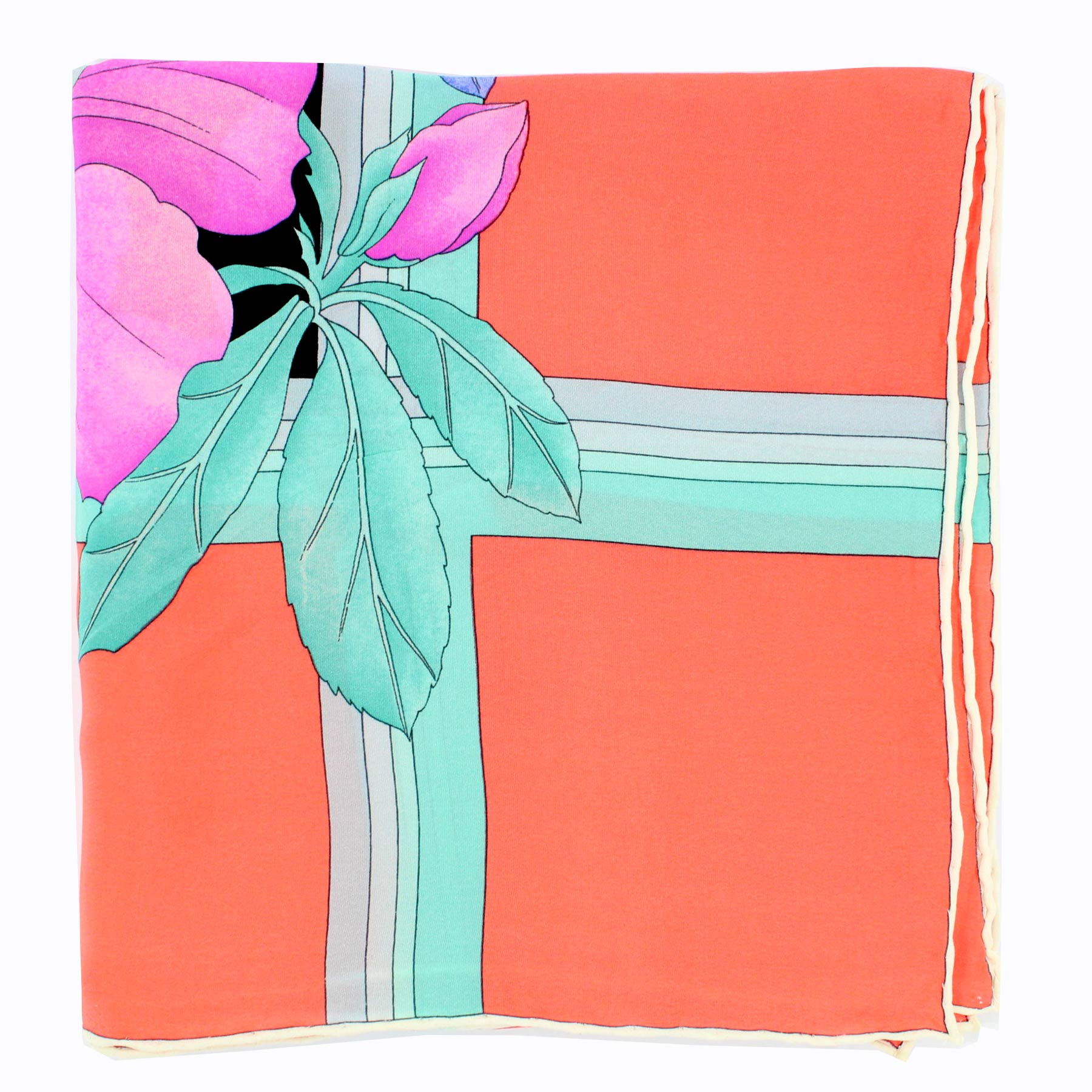 Leonard Scarf Mint Pink Floral - Large Square Silk Scarf SALE